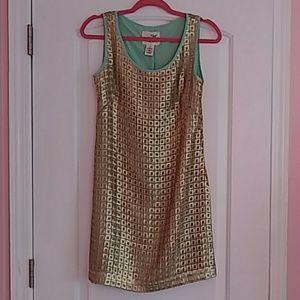 Anthropologie Tabitha Golden Panes Blue Gold Dress